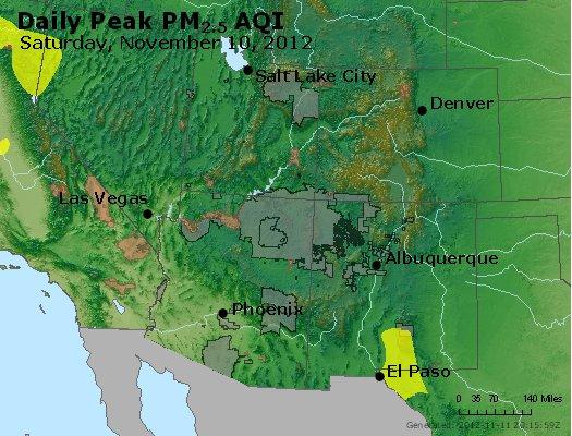 Peak Particles PM<sub>2.5</sub> (24-hour) - https://files.airnowtech.org/airnow/2012/20121110/peak_pm25_co_ut_az_nm.jpg
