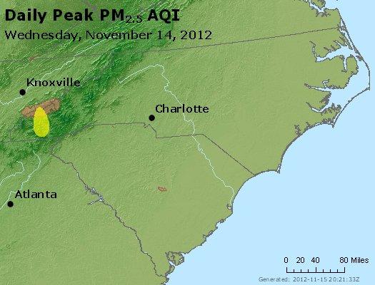 Peak Particles PM2.5 (24-hour) - https://files.airnowtech.org/airnow/2012/20121114/peak_pm25_nc_sc.jpg