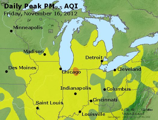 Peak Particles PM<sub>2.5</sub> (24-hour) - https://files.airnowtech.org/airnow/2012/20121116/peak_pm25_mi_in_oh.jpg