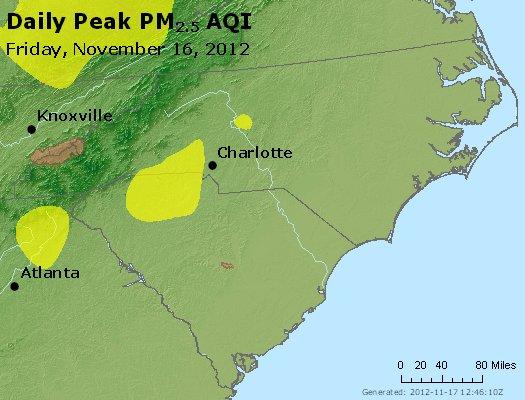 Peak Particles PM<sub>2.5</sub> (24-hour) - https://files.airnowtech.org/airnow/2012/20121116/peak_pm25_nc_sc.jpg