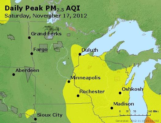 Peak Particles PM<sub>2.5</sub> (24-hour) - https://files.airnowtech.org/airnow/2012/20121117/peak_pm25_mn_wi.jpg