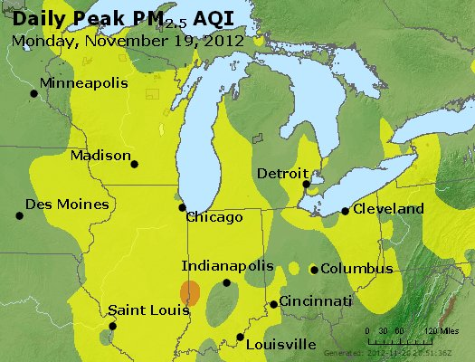 Peak Particles PM<sub>2.5</sub> (24-hour) - https://files.airnowtech.org/airnow/2012/20121119/peak_pm25_mi_in_oh.jpg