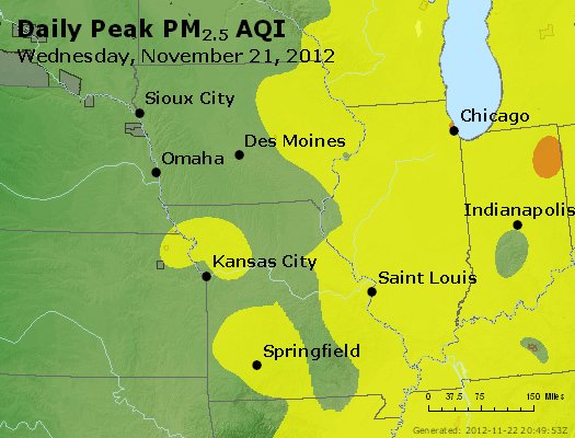 Peak Particles PM<sub>2.5</sub> (24-hour) - https://files.airnowtech.org/airnow/2012/20121121/peak_pm25_ia_il_mo.jpg