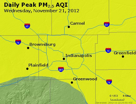 Peak Particles PM<sub>2.5</sub> (24-hour) - https://files.airnowtech.org/airnow/2012/20121121/peak_pm25_indianapolis_in.jpg