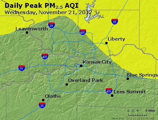 Peak Particles PM<sub>2.5</sub> (24-hour) - https://files.airnowtech.org/airnow/2012/20121121/peak_pm25_kansascity_mo.jpg