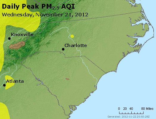 Peak Particles PM<sub>2.5</sub> (24-hour) - https://files.airnowtech.org/airnow/2012/20121121/peak_pm25_nc_sc.jpg