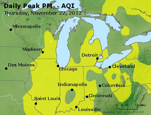 Peak Particles PM<sub>2.5</sub> (24-hour) - https://files.airnowtech.org/airnow/2012/20121122/peak_pm25_mi_in_oh.jpg