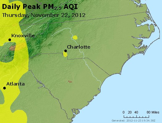 Peak Particles PM<sub>2.5</sub> (24-hour) - https://files.airnowtech.org/airnow/2012/20121122/peak_pm25_nc_sc.jpg