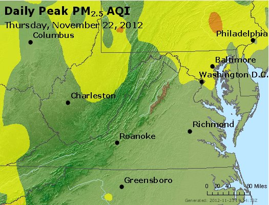 Peak Particles PM<sub>2.5</sub> (24-hour) - https://files.airnowtech.org/airnow/2012/20121122/peak_pm25_va_wv_md_de_dc.jpg