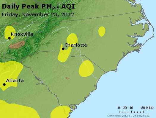 Peak Particles PM<sub>2.5</sub> (24-hour) - https://files.airnowtech.org/airnow/2012/20121123/peak_pm25_nc_sc.jpg