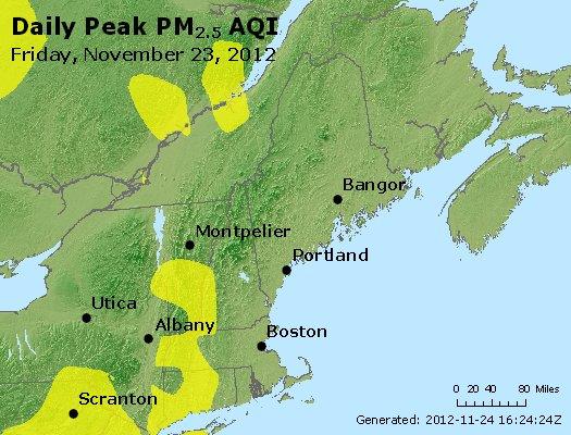Peak Particles PM<sub>2.5</sub> (24-hour) - https://files.airnowtech.org/airnow/2012/20121123/peak_pm25_vt_nh_ma_ct_ri_me.jpg