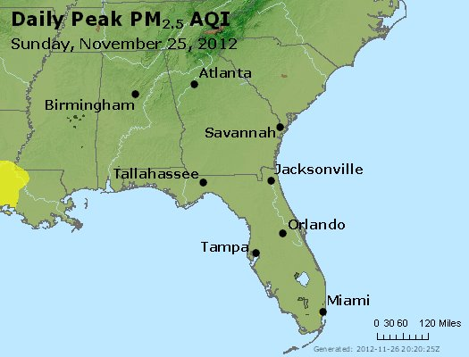 Peak Particles PM<sub>2.5</sub> (24-hour) - https://files.airnowtech.org/airnow/2012/20121125/peak_pm25_al_ga_fl.jpg
