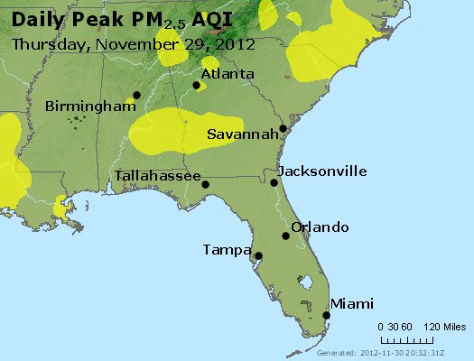 Peak Particles PM<sub>2.5</sub> (24-hour) - https://files.airnowtech.org/airnow/2012/20121129/peak_pm25_al_ga_fl.jpg