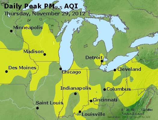 Peak Particles PM<sub>2.5</sub> (24-hour) - https://files.airnowtech.org/airnow/2012/20121129/peak_pm25_mi_in_oh.jpg