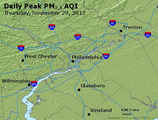 Peak Particles PM<sub>2.5</sub> (24-hour) - https://files.airnowtech.org/airnow/2012/20121129/peak_pm25_philadelphia_pa.jpg