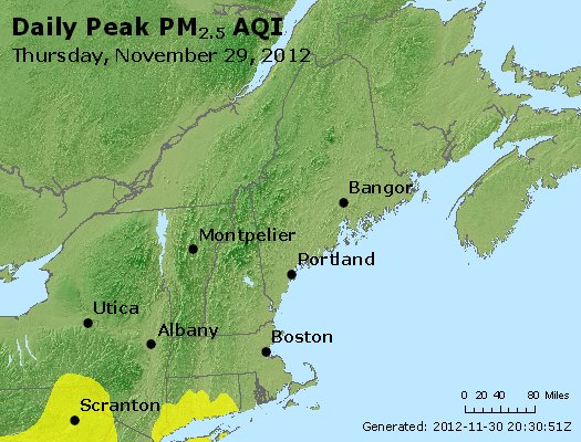 Peak Particles PM<sub>2.5</sub> (24-hour) - https://files.airnowtech.org/airnow/2012/20121129/peak_pm25_vt_nh_ma_ct_ri_me.jpg