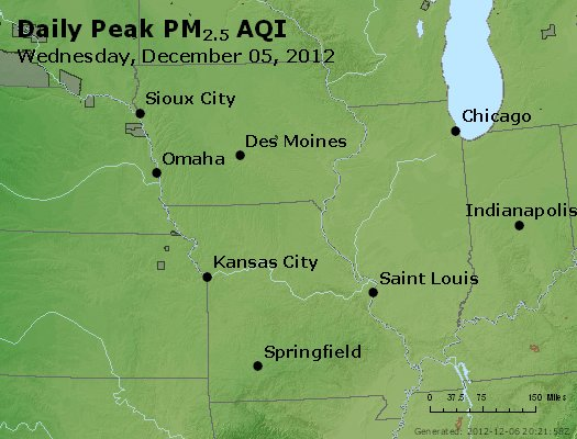 Peak Particles PM<sub>2.5</sub> (24-hour) - https://files.airnowtech.org/airnow/2012/20121205/peak_pm25_ia_il_mo.jpg