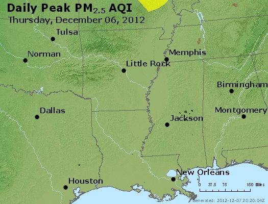 Peak Particles PM<sub>2.5</sub> (24-hour) - https://files.airnowtech.org/airnow/2012/20121206/peak_pm25_ar_la_ms.jpg