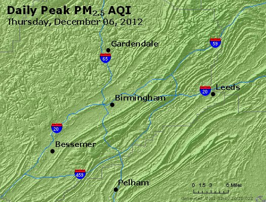 Peak Particles PM<sub>2.5</sub> (24-hour) - https://files.airnowtech.org/airnow/2012/20121206/peak_pm25_birmingham_al.jpg