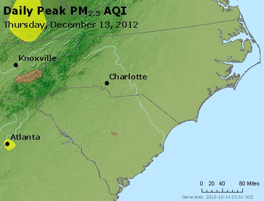 Peak Particles PM<sub>2.5</sub> (24-hour) - https://files.airnowtech.org/airnow/2012/20121213/peak_pm25_nc_sc.jpg