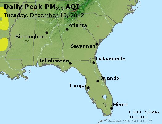 Peak Particles PM<sub>2.5</sub> (24-hour) - https://files.airnowtech.org/airnow/2012/20121218/peak_pm25_al_ga_fl.jpg
