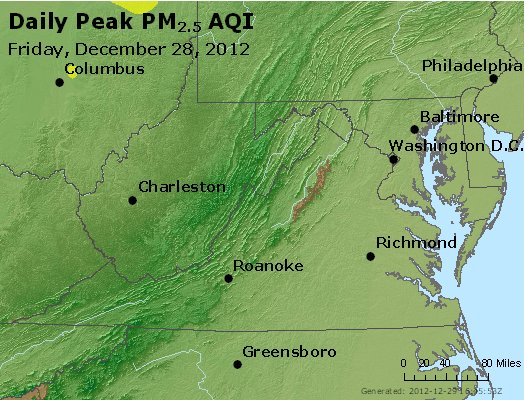 Peak Particles PM<sub>2.5</sub> (24-hour) - https://files.airnowtech.org/airnow/2012/20121228/peak_pm25_va_wv_md_de_dc.jpg