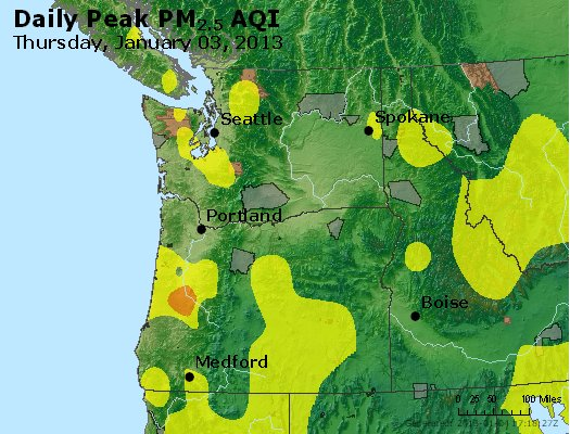 Peak Particles PM<sub>2.5</sub> (24-hour) - https://files.airnowtech.org/airnow/2013/20130103/peak_pm25_wa_or.jpg