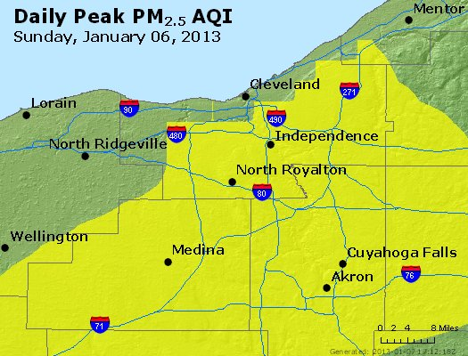 Peak Particles PM<sub>2.5</sub> (24-hour) - https://files.airnowtech.org/airnow/2013/20130106/peak_pm25_cleveland_oh.jpg