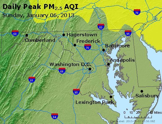 Peak Particles PM<sub>2.5</sub> (24-hour) - https://files.airnowtech.org/airnow/2013/20130106/peak_pm25_maryland.jpg