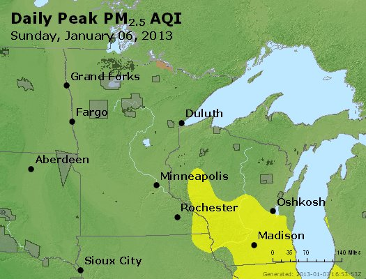 Peak Particles PM<sub>2.5</sub> (24-hour) - https://files.airnowtech.org/airnow/2013/20130106/peak_pm25_mn_wi.jpg