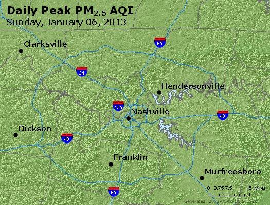 Peak Particles PM<sub>2.5</sub> (24-hour) - https://files.airnowtech.org/airnow/2013/20130106/peak_pm25_nashville_tn.jpg