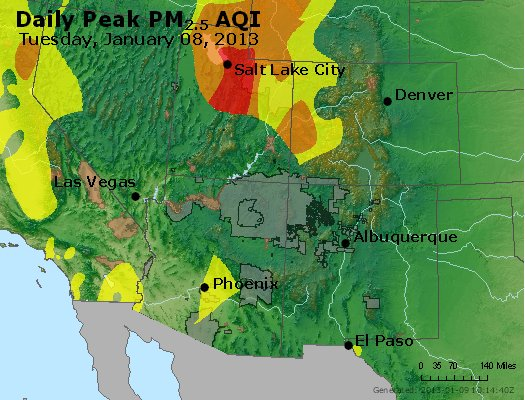 Peak Particles PM<sub>2.5</sub> (24-hour) - https://files.airnowtech.org/airnow/2013/20130108/peak_pm25_co_ut_az_nm.jpg