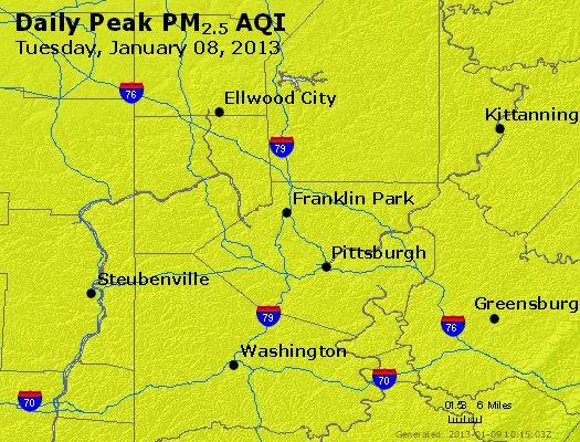 Peak Particles PM<sub>2.5</sub> (24-hour) - https://files.airnowtech.org/airnow/2013/20130108/peak_pm25_pittsburgh_pa.jpg