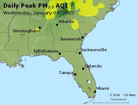 Peak Particles PM<sub>2.5</sub> (24-hour) - https://files.airnowtech.org/airnow/2013/20130109/peak_pm25_al_ga_fl.jpg