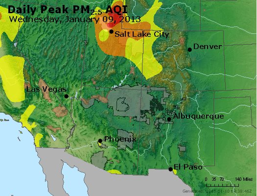 Peak Particles PM<sub>2.5</sub> (24-hour) - https://files.airnowtech.org/airnow/2013/20130109/peak_pm25_co_ut_az_nm.jpg