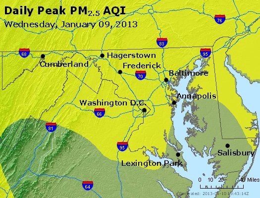 Peak Particles PM<sub>2.5</sub> (24-hour) - https://files.airnowtech.org/airnow/2013/20130109/peak_pm25_maryland.jpg