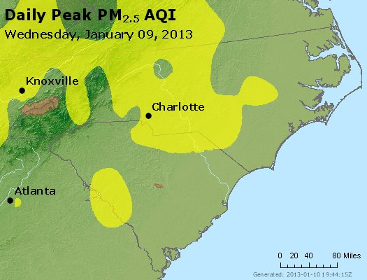 Peak Particles PM<sub>2.5</sub> (24-hour) - https://files.airnowtech.org/airnow/2013/20130109/peak_pm25_nc_sc.jpg