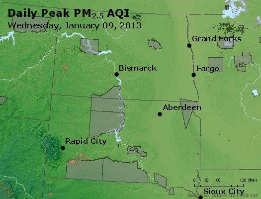 Peak Particles PM<sub>2.5</sub> (24-hour) - https://files.airnowtech.org/airnow/2013/20130109/peak_pm25_nd_sd.jpg