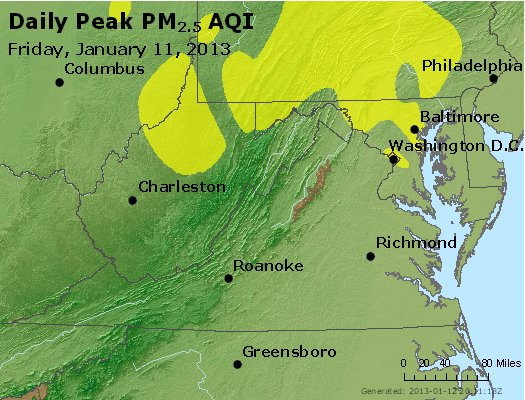 Peak Particles PM<sub>2.5</sub> (24-hour) - https://files.airnowtech.org/airnow/2013/20130111/peak_pm25_va_wv_md_de_dc.jpg