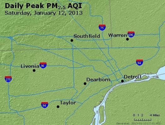 Peak Particles PM<sub>2.5</sub> (24-hour) - https://files.airnowtech.org/airnow/2013/20130112/peak_pm25_detroit_mi.jpg