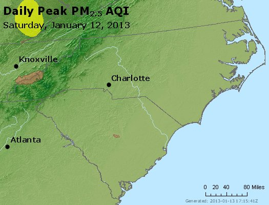 Peak Particles PM<sub>2.5</sub> (24-hour) - https://files.airnowtech.org/airnow/2013/20130112/peak_pm25_nc_sc.jpg