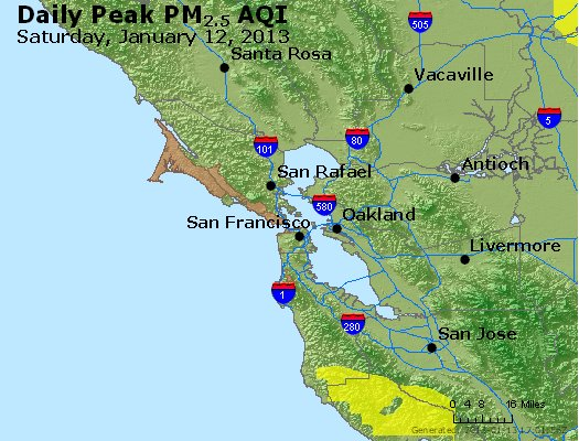 Peak Particles PM<sub>2.5</sub> (24-hour) - https://files.airnowtech.org/airnow/2013/20130112/peak_pm25_sanfrancisco_ca.jpg