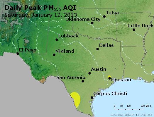 Peak Particles PM<sub>2.5</sub> (24-hour) - https://files.airnowtech.org/airnow/2013/20130112/peak_pm25_tx_ok.jpg