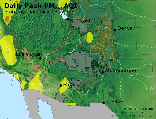 Peak Particles PM<sub>2.5</sub> (24-hour) - https://files.airnowtech.org/airnow/2013/20130113/peak_pm25_co_ut_az_nm.jpg
