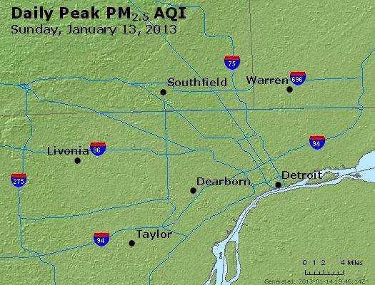 Peak Particles PM<sub>2.5</sub> (24-hour) - https://files.airnowtech.org/airnow/2013/20130113/peak_pm25_detroit_mi.jpg