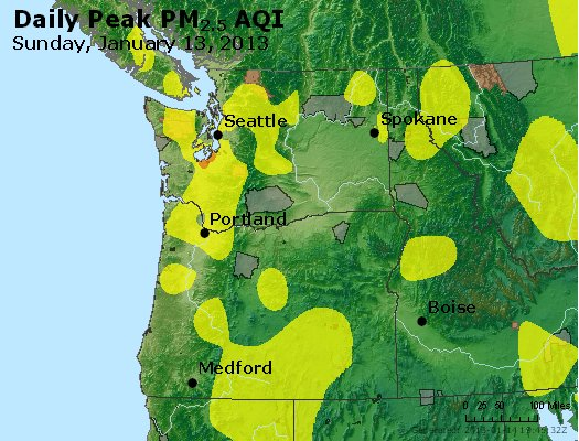 Peak Particles PM<sub>2.5</sub> (24-hour) - https://files.airnowtech.org/airnow/2013/20130113/peak_pm25_wa_or.jpg