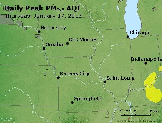 Peak Particles PM<sub>2.5</sub> (24-hour) - https://files.airnowtech.org/airnow/2013/20130117/peak_pm25_ia_il_mo.jpg