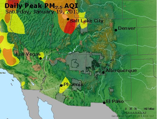 Peak Particles PM<sub>2.5</sub> (24-hour) - https://files.airnowtech.org/airnow/2013/20130119/peak_pm25_co_ut_az_nm.jpg