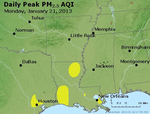 Peak Particles PM<sub>2.5</sub> (24-hour) - https://files.airnowtech.org/airnow/2013/20130121/peak_pm25_ar_la_ms.jpg