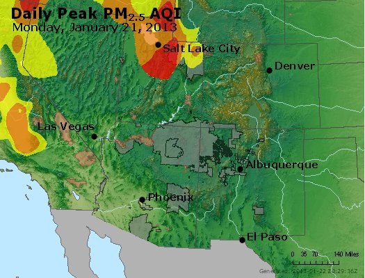 Peak Particles PM<sub>2.5</sub> (24-hour) - https://files.airnowtech.org/airnow/2013/20130121/peak_pm25_co_ut_az_nm.jpg